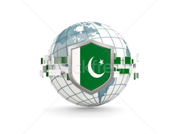 Wereldbol schild vlag Pakistan geïsoleerd witte Stockfoto © MikhailMishchenko