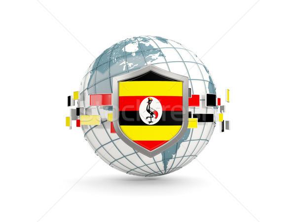Dünya kalkan bayrak Uganda yalıtılmış beyaz Stok fotoğraf © MikhailMishchenko