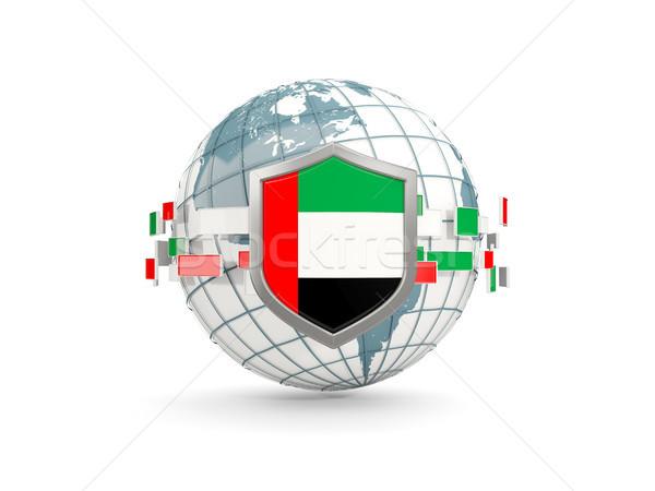Dünya kalkan bayrak Birleşik Arap Emirlikleri yalıtılmış beyaz Stok fotoğraf © MikhailMishchenko