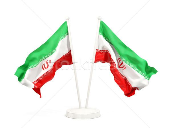 Kettő integet zászlók Irán izolált fehér Stock fotó © MikhailMishchenko