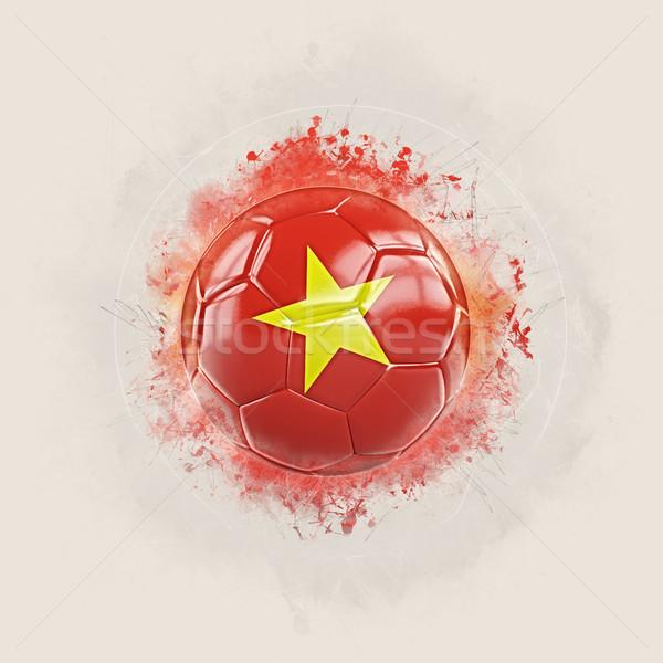 Grunge voetbal vlag Vietnam 3d illustration wereld Stockfoto © MikhailMishchenko
