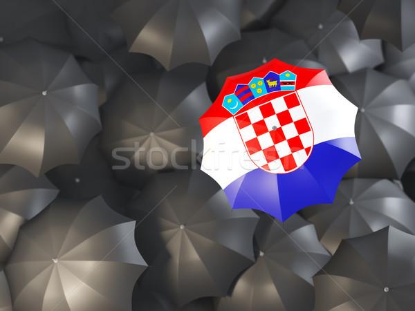 Guarda-chuva bandeira Croácia topo preto guarda-chuvas Foto stock © MikhailMishchenko