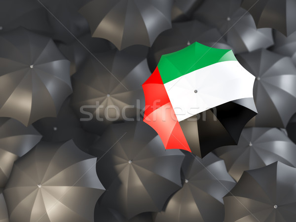 Guarda-chuva bandeira Emirados Árabes Unidos topo preto guarda-chuvas Foto stock © MikhailMishchenko