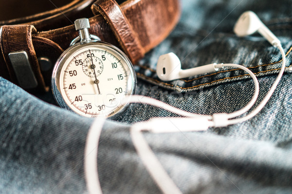 Men's pocket watch and accessories on jeans background Stock photo © MikhailMishchenko