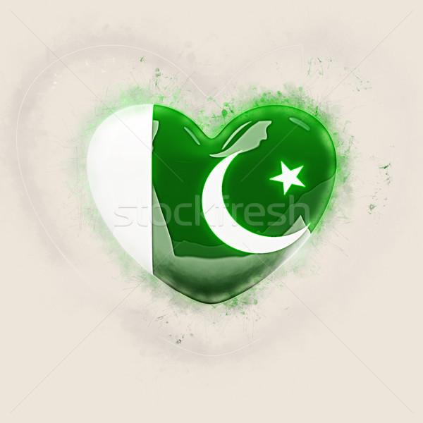 Kalp bayrak Pakistan grunge 3d illustration seyahat Stok fotoğraf © MikhailMishchenko
