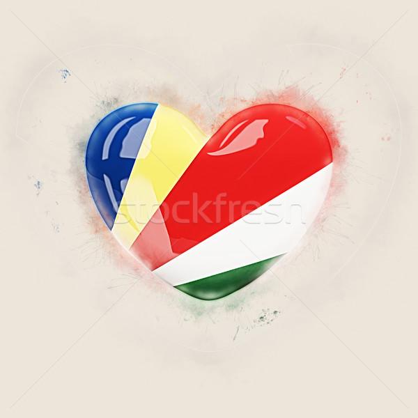 Heart with flag of seychelles Stock photo © MikhailMishchenko