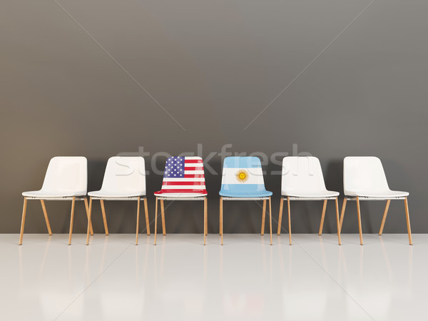 Chairs with flag of usa and argentina Stock photo © MikhailMishchenko