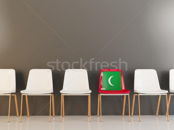 Sandalye bayrak Maldivler beyaz sandalye Stok fotoğraf © MikhailMishchenko