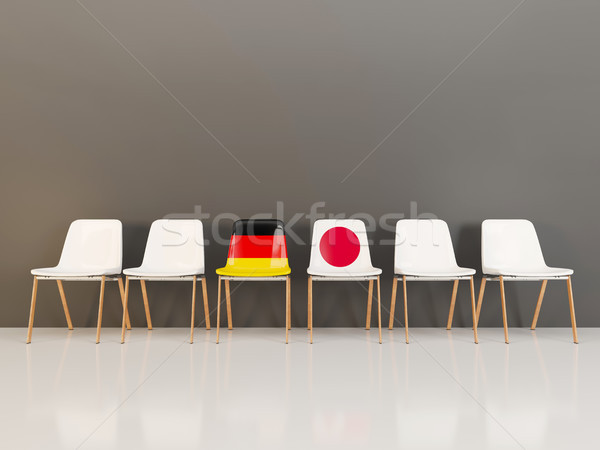 Chaises pavillon Allemagne Japon rangée 3d illustration Photo stock © MikhailMishchenko