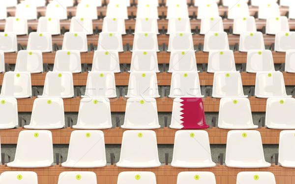 スタジアム 座席 フラグ カタール 白 ストックフォト © MikhailMishchenko