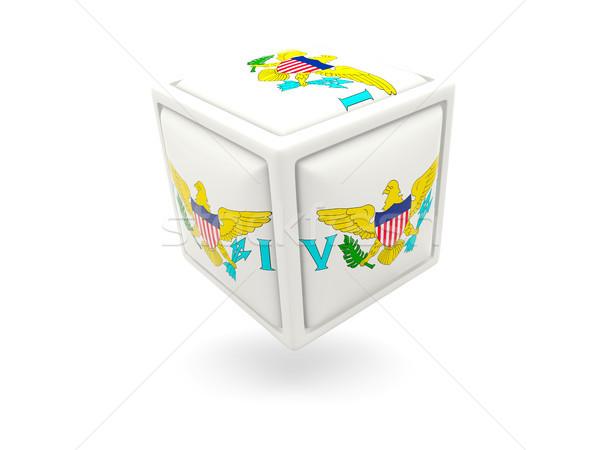 флаг Виргинские о-ва куб икона изолированный белый Сток-фото © MikhailMishchenko