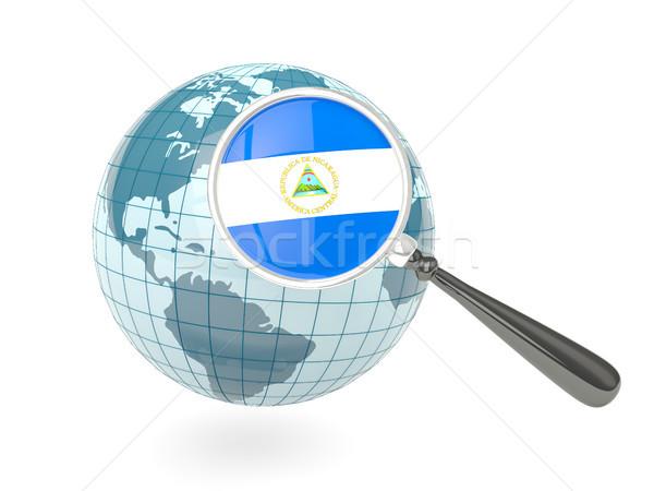 Stok fotoğraf: Bayrak · Nikaragua · mavi · dünya · yalıtılmış