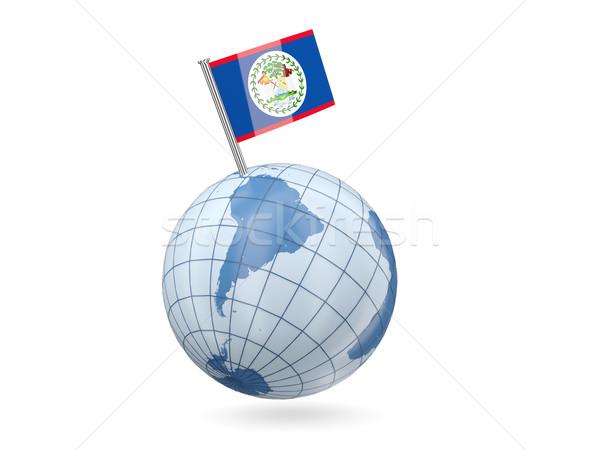 Földgömb zászló Belize kék izolált fehér Stock fotó © MikhailMishchenko
