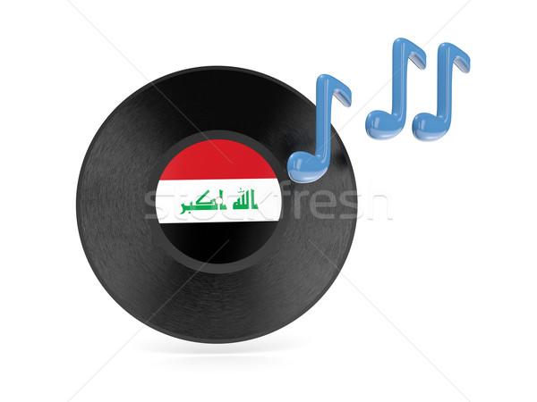 Vinil disco bandeira Iraque isolado branco Foto stock © MikhailMishchenko