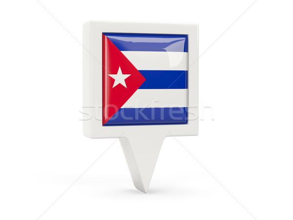 Vierkante vlag icon Cuba geïsoleerd witte Stockfoto © MikhailMishchenko