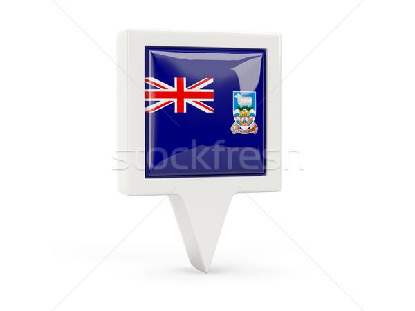 Tér zászló ikon Falkland-szigetek izolált fehér Stock fotó © MikhailMishchenko