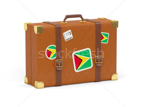 Bőrönd zászló Guyana utazás izolált fehér Stock fotó © MikhailMishchenko