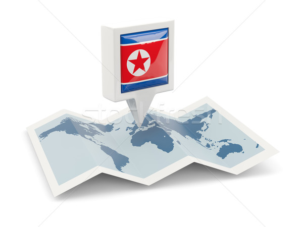 Square pin with flag of north korea on the map Stock photo © MikhailMishchenko