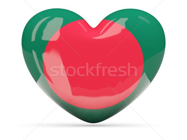 Szív alakú ikon zászló Banglades izolált Stock fotó © MikhailMishchenko