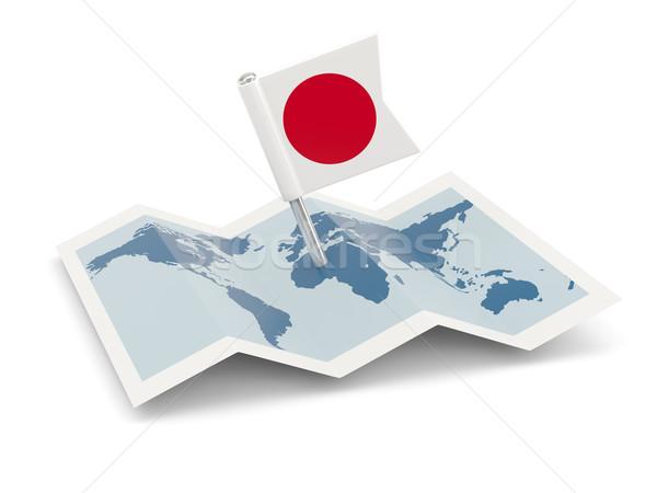Mappa bandiera Giappone isolato bianco Foto d'archivio © MikhailMishchenko