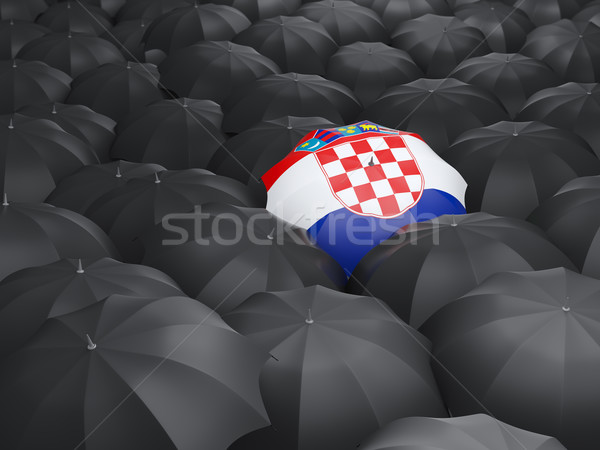 Guarda-chuva bandeira Croácia preto guarda-chuvas chuva Foto stock © MikhailMishchenko