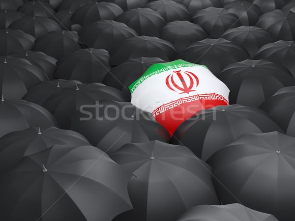 Esernyő zászló Irán fekete esernyők utazás Stock fotó © MikhailMishchenko