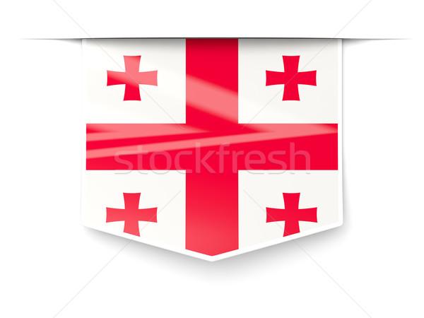 Square label with flag of georgia Stock photo © MikhailMishchenko