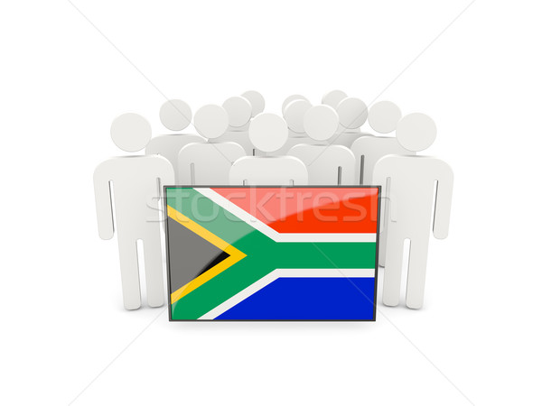 Mensen vlag South Africa geïsoleerd witte menigte Stockfoto © MikhailMishchenko