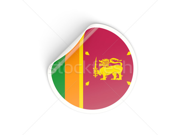 Round sticker with flag of sri lanka Stock photo © MikhailMishchenko