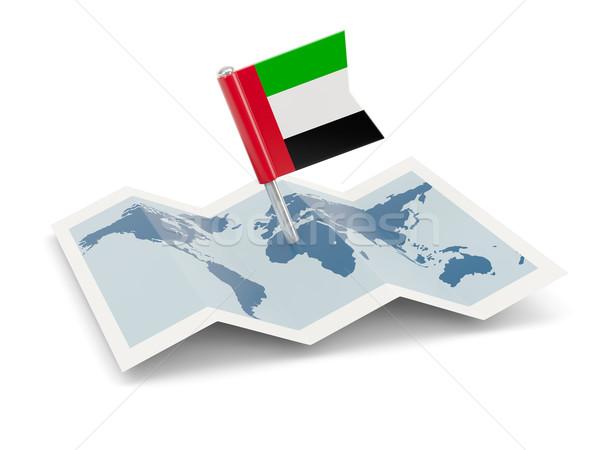 Mapa bandeira Emirados Árabes Unidos isolado branco Foto stock © MikhailMishchenko