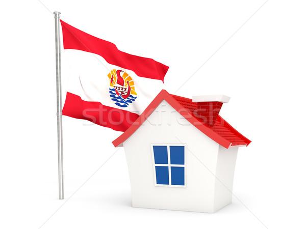 Casa bandiera francese polinesia isolato bianco Foto d'archivio © MikhailMishchenko