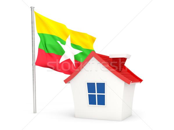 дома флаг Мьянма изолированный белый домой Сток-фото © MikhailMishchenko
