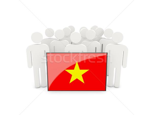 Personnes pavillon Viêt-Nam isolé blanche foule Photo stock © MikhailMishchenko