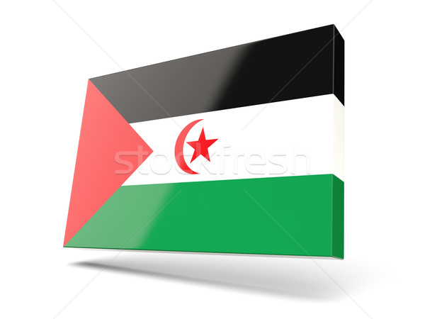 Vierkante icon vlag westerse sahara geïsoleerd Stockfoto © MikhailMishchenko