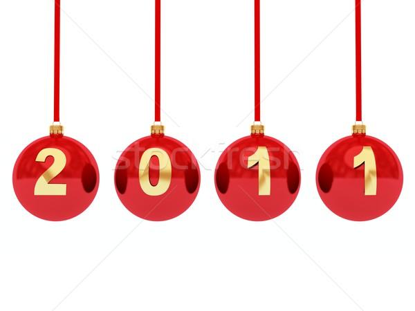 2011 nowy rok zabawki odizolowany biały szkła Zdjęcia stock © MikhailMishchenko
