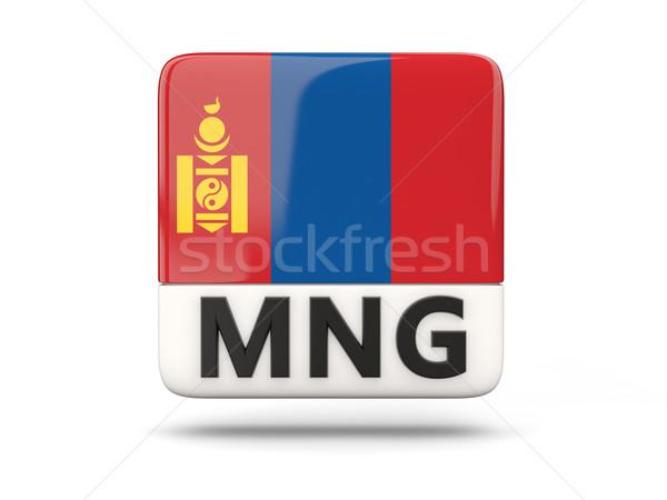 Vierkante icon vlag Mongolië iso code Stockfoto © MikhailMishchenko