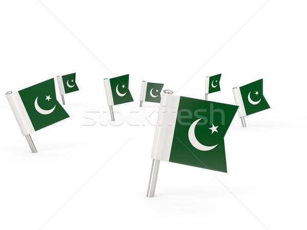 Tér zászló Pakisztán izolált fehér vidék Stock fotó © MikhailMishchenko