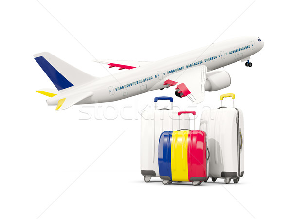 Luggage with flag of chad. Three bags with airplane Stock photo © MikhailMishchenko