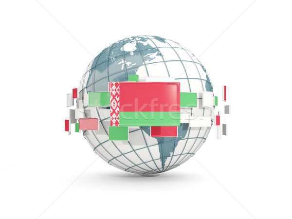 Stock photo: Globe with flag of belarus isolated on white