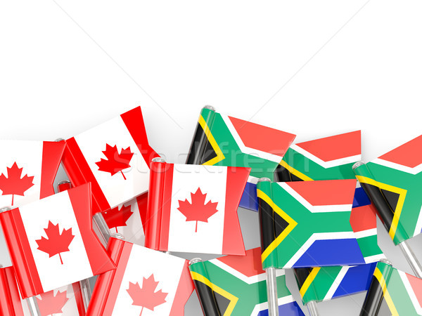 Flag pins of Canada and South Africa isolated on white Stock photo © MikhailMishchenko