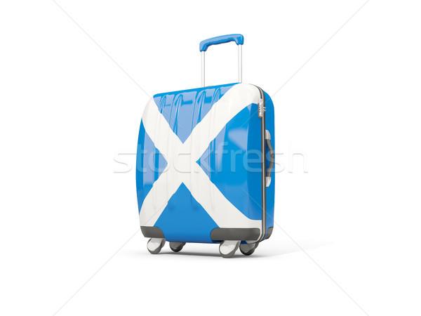 Equipaje bandera Escocia maleta aislado blanco Foto stock © MikhailMishchenko