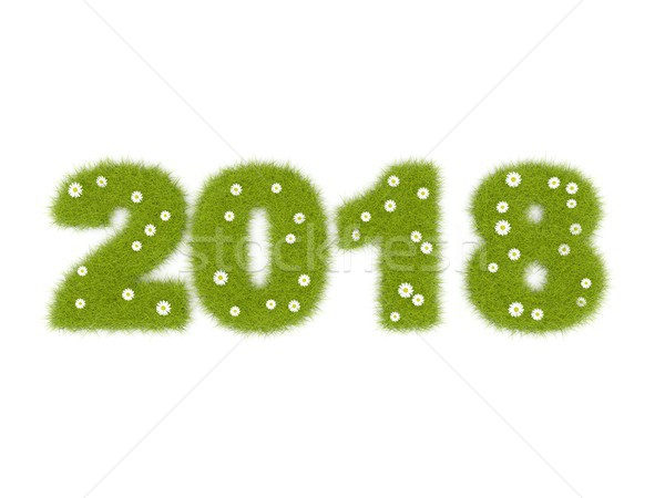 зеленый Новый год знак изолированный белый 3d иллюстрации Сток-фото © MikhailMishchenko