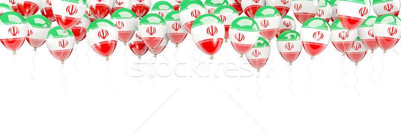 Léggömbök keret zászló Irán izolált fehér Stock fotó © MikhailMishchenko
