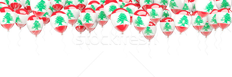 Léggömbök keret zászló Libanon izolált fehér Stock fotó © MikhailMishchenko