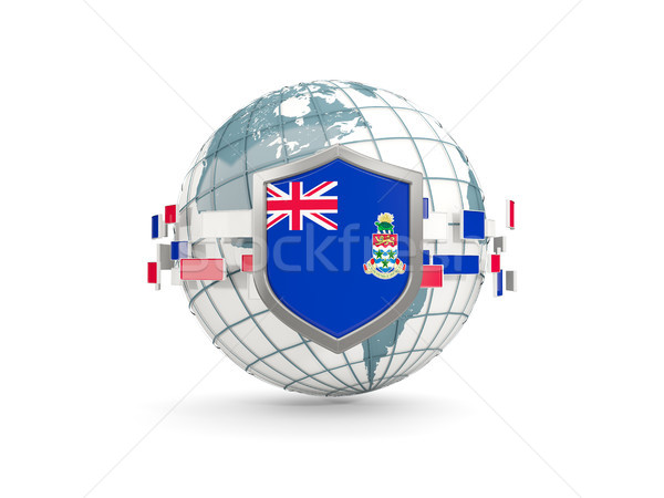 Globe and shield with flag of cayman islands isolated on white Stock photo © MikhailMishchenko