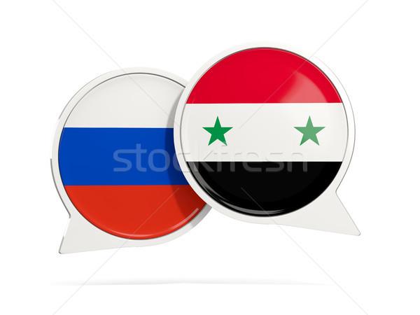 Conversar bubbles Rússia Síria isolado branco Foto stock © MikhailMishchenko
