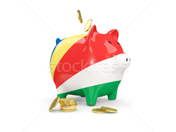 Kövér persely Seychelle-szigetek pénz izolált fehér Stock fotó © MikhailMishchenko