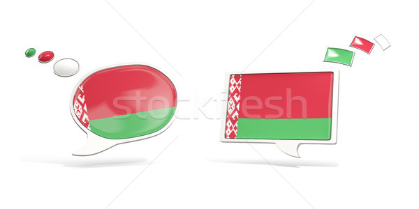 Two chat icons with flag of belarus Stock photo © MikhailMishchenko