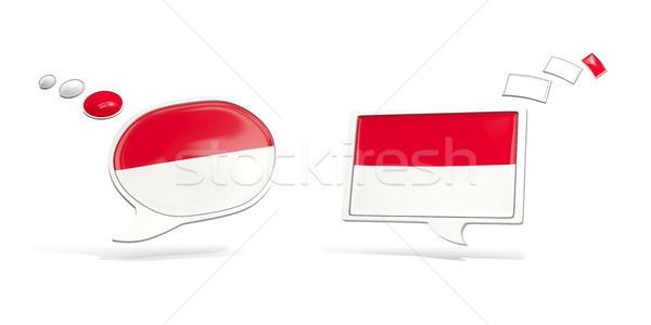 Dos chat iconos bandera Indonesia cuadrados Foto stock © MikhailMishchenko