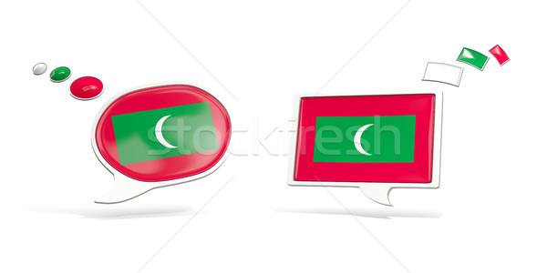 Two chat icons with flag of maldives Stock photo © MikhailMishchenko